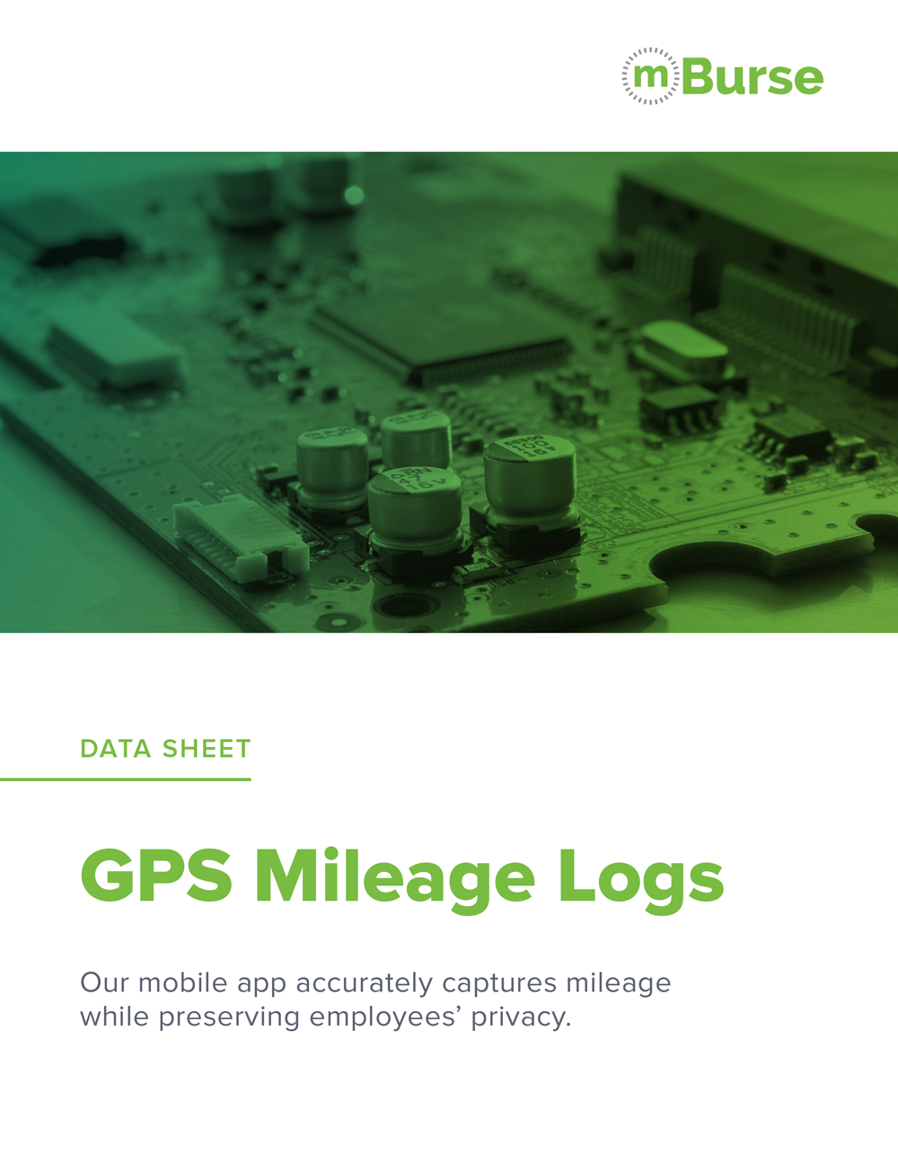mBurse GPS Mileage Log data sheet